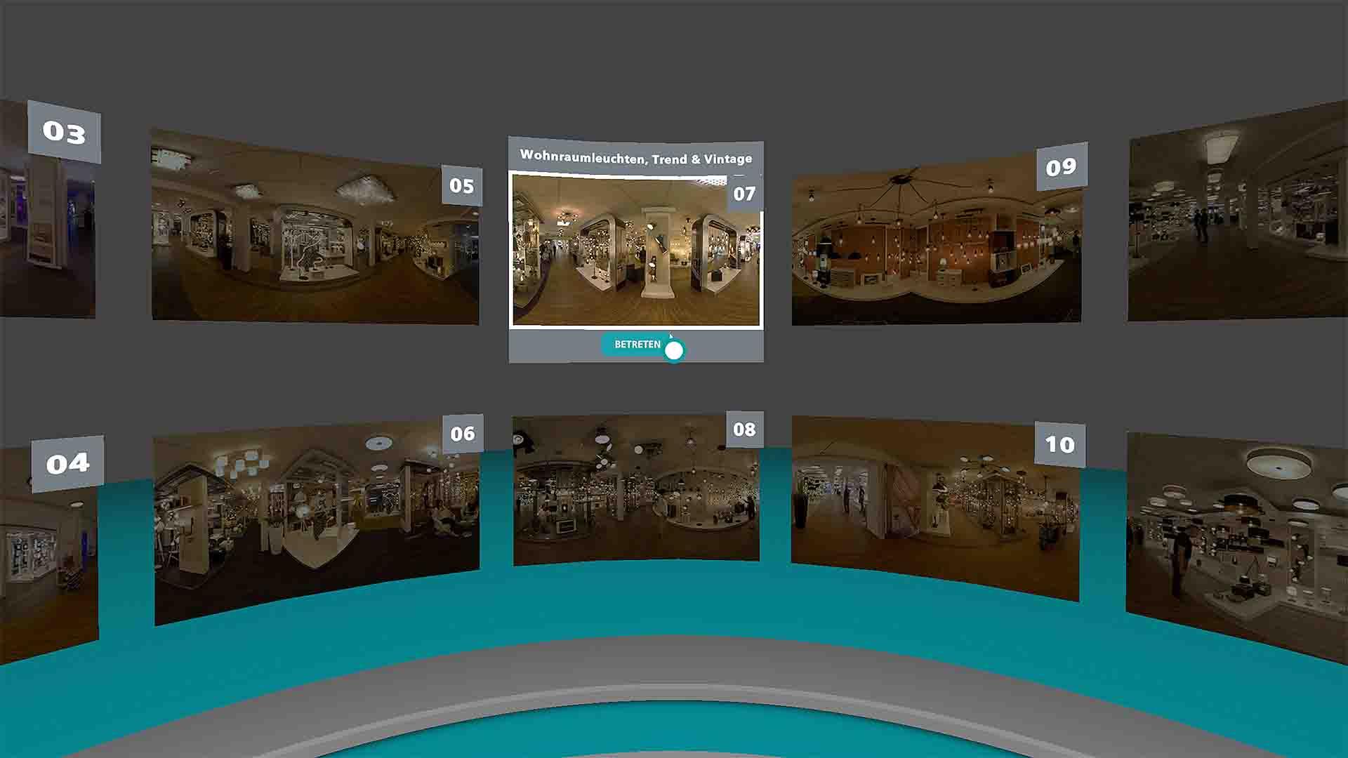 EGLO VR Showroom Raumübersicht