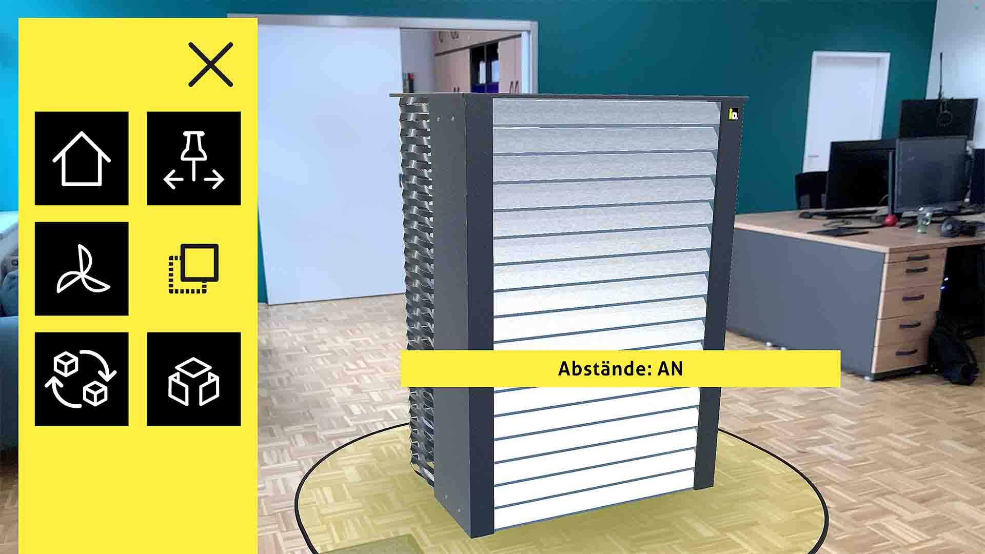 Kunden von iDM können mit der Wärmepumpen AR App ganz einfach eine virtuelle Wärmepumpe in den eigenen 4 Wänden positionieren und diese auseinanderbauen.