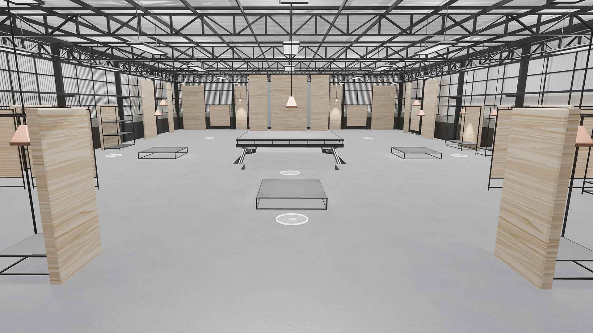 """Der virtuelle Schauraum """"Futuristisches Museum"""" besteht aus 5 unterschiedlichen Räumen in verschiedenen Farben, mit viel Platz für Ihre Produkte, Videos oder Textinhalte."""
